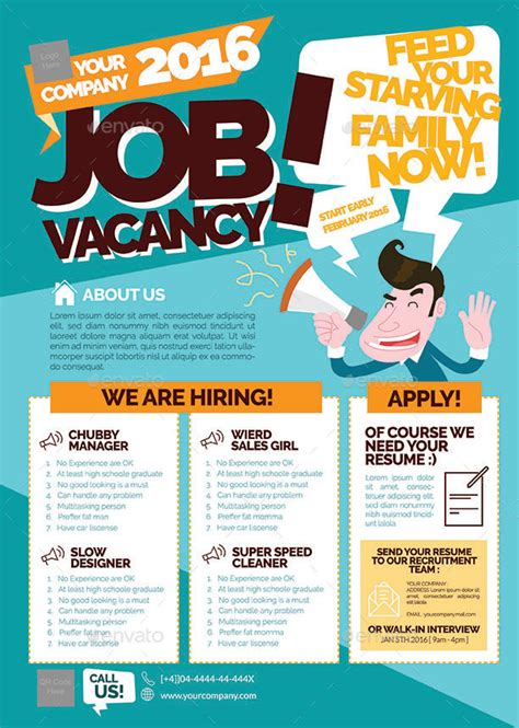 hiring ads templates vacancy flyer presentaciones dise 241 os