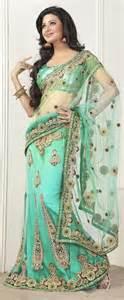 sea green color net lehenga style saree sarees cool