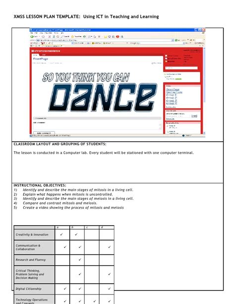 lesson plan template ict xmss ict lesson plan jane toh