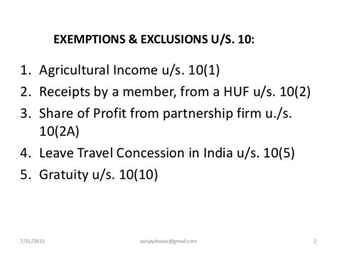 what is exemption under section 10 incomes exempt from tax under section 10