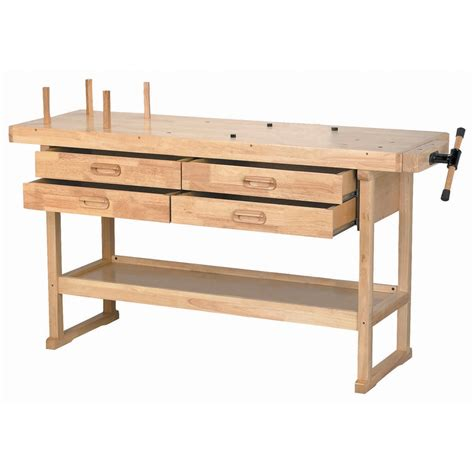 work bench storage 60 in 4 drawer hardwood workbench