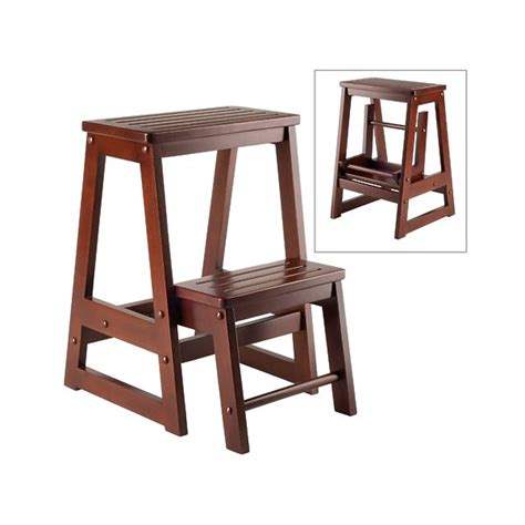 winsome winsome folding step stool walnut solid composite