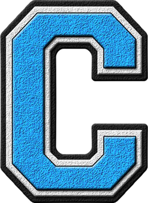 C Light by Presentation Alphabets Light Blue Varsity Letter C