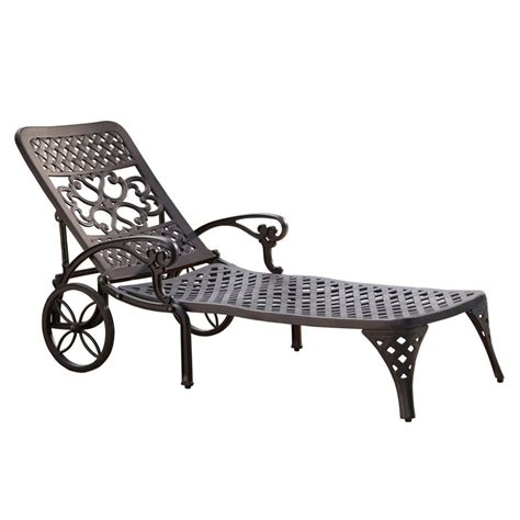 Black Chaise Lounge Shop Home Styles Biscayne Black Aluminum Patio Chaise Lounge At Lowes