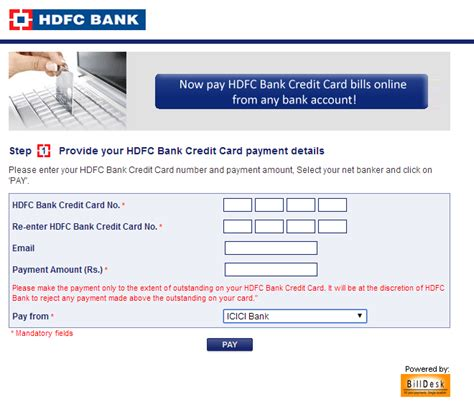 make payment for hdfc credit card hdfc bank credit card bill payment