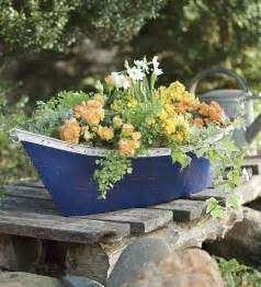 handmade recycled metal boat planter container gifts for