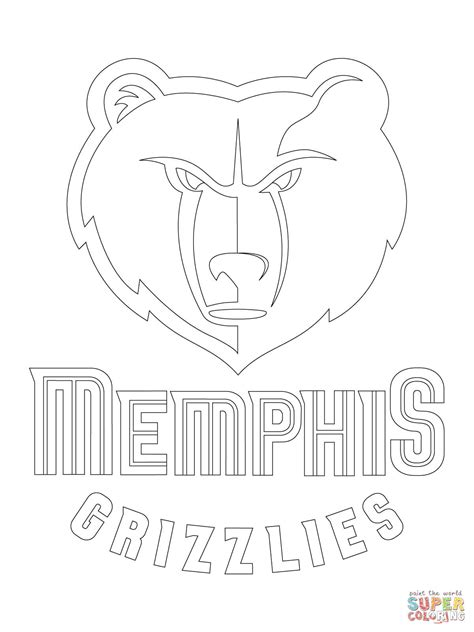 Memphis Grizzlies Logo Coloring Page Free Printable Nba Logo Coloring Pages