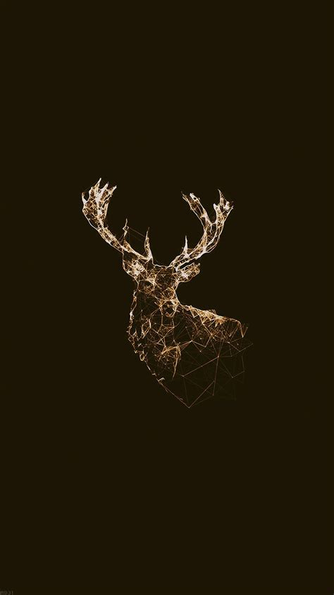 golden deer polygon illustration iphone  wallpaper hd   iphonewalls