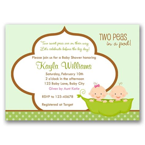 Pea In A Pod Baby Shower Invitations by Two Peas In A Pod Baby Shower Invitation Callachic