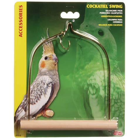 the bird perched on the swing living world cockatiel swing wood perch