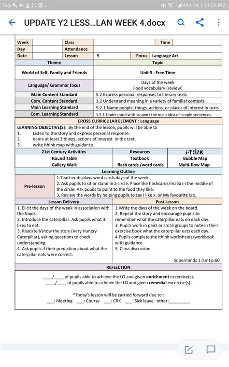 lesson plan template year 1 year 2 cefr unit 5 free time very hungry caterpillar