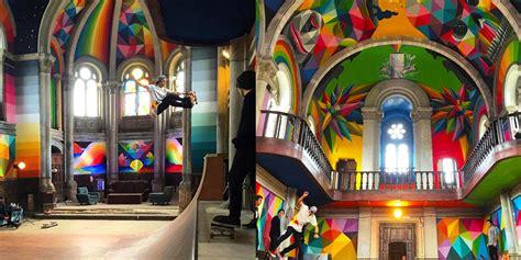 Kaos Lets Skate kaos temple 100 letno cerkev spremenili v slikovit skejt