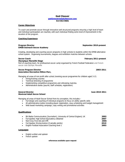 Soccer Resume by Soccer Coach Resume Objective And Resume Template