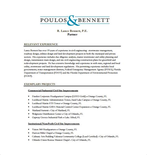 Site Engineer Resume Sample by 10 Civil Engineer Resume Templates Word Excel Pdf