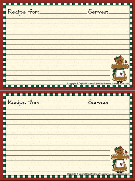 Gingerbread Recipe Card Template by Gingerbread Recipe Cards Recipe Card