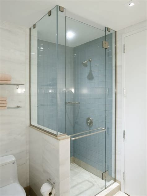 Shower With Half Glass Wall Remove Wall And Separate Shower Door Removal From Bathtub