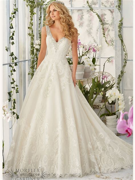 Wedding Dresses V Neck by Mori 2813 V Neck Tulle Gown Bridal Dress