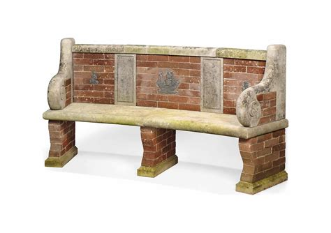 brick and wood bench a limestone and brick curved garden seat late 19th