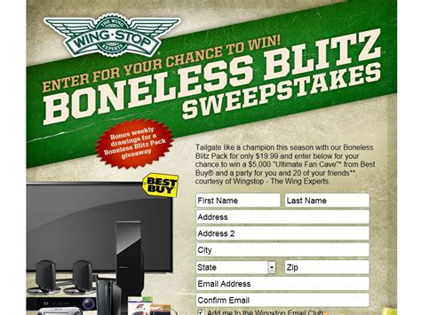 Where To Buy Wingstop Gift Card - 2013 wingstop boneless blitz sweepstakes sweepstakes fanatics
