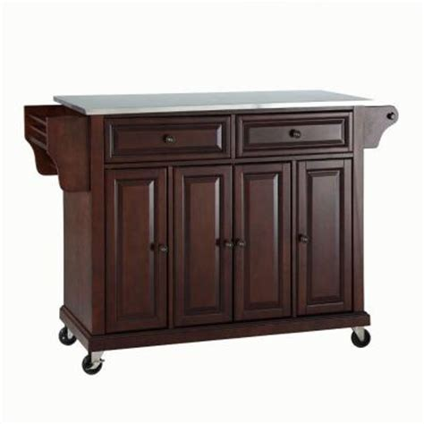 Kitchen Island Cart With Stainless Steel Top Crosley 52 In Stainless Steel Top Kitchen Island Cart In Mahogany Kf30002ema The Home Depot