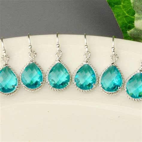 10 set of 5 wedding jewelry sea green earrings teal