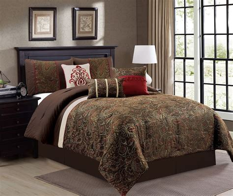 red damask comforter set 7 piece gold rust red beige brown chenille damask paisley