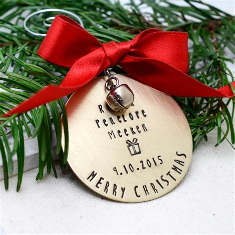personalized brass christmas ornament hand sted