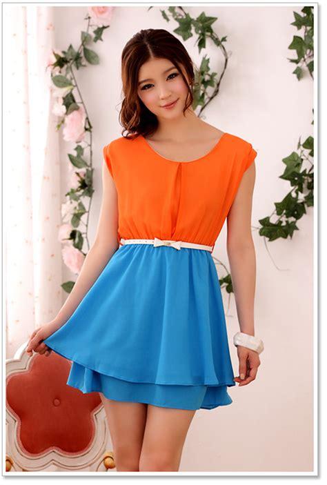 fashion casual cool orange and blue dress k9503