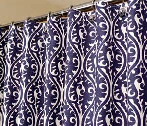 Blue And White Patterned Curtains Pattern Shower Curtain In Indigo Blue By Laricahome