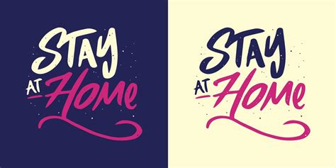 stay  home lettering   color variations