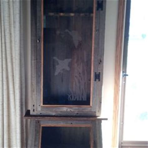 wood gun cabinet with etched glass etched glass gallery custommade com