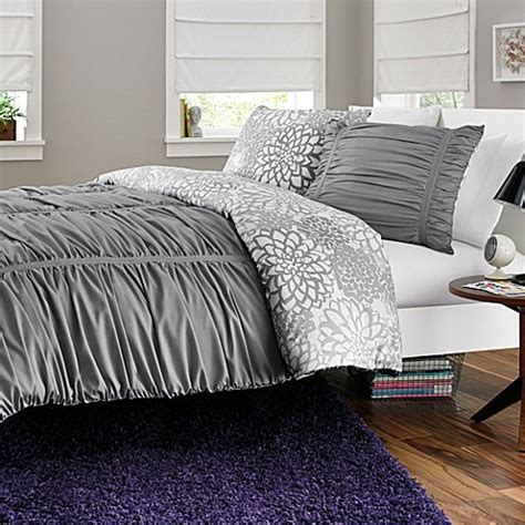 reagan reversible twin twin xl comforter set in cool grey