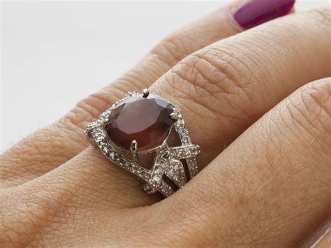 Mexican Agate 4 2ct 4 2ct sunstone white gold ring with diamonds