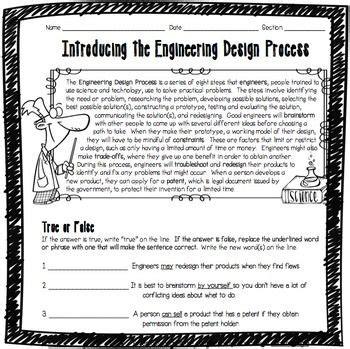 introducing  engineering design process worksheet scientific method worksheet engineering