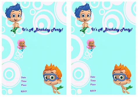 bubble guppies birthday invitations birthday printable