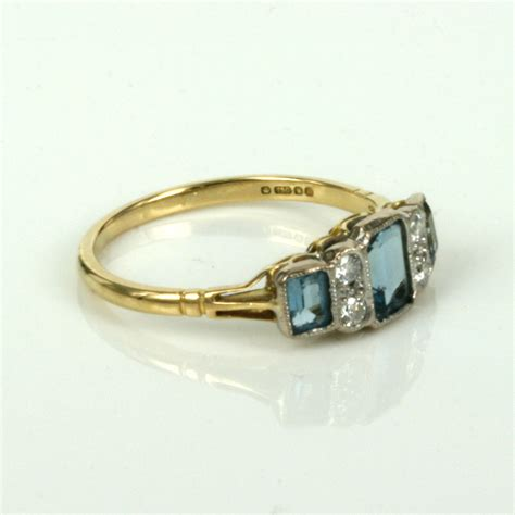 buy white and yellow gold aquamarine and ring sold