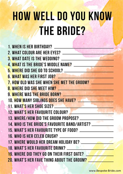 bridal shower how well do you the questions free printable how well do you the hen bridal shower bespoke