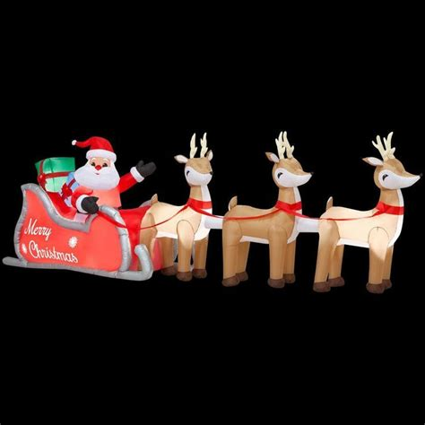 home depot inflatable christmas decorations 16 ft colossal inflatable lighted santa in sleigh with