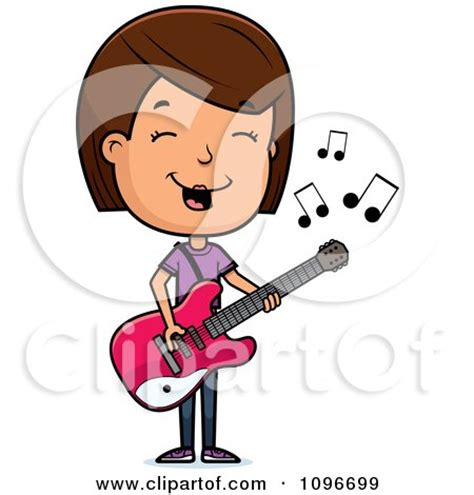 girl playing guitar clip art cartoon clipart of a black and white scared adolescent