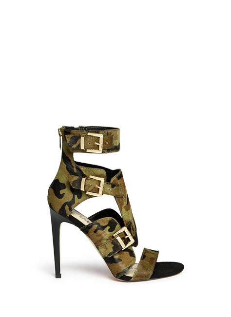 camouflage sandals sam edelman perth camouflage calf hair sandals in green lyst