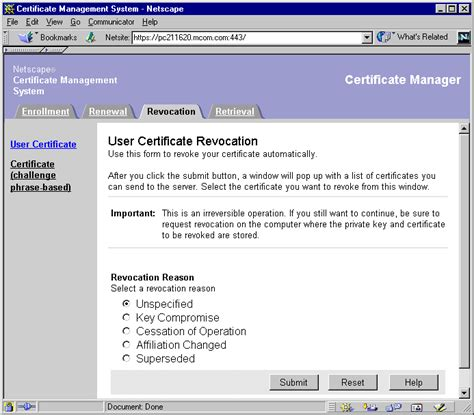 end user certificate template netscape certificate management system administrator s