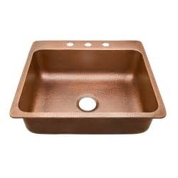 copper kitchen sink sinkology rosa drop in copper sink 25 in 3 hole single