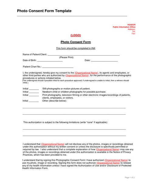 photography permission form template best photos of consent form template exles informed
