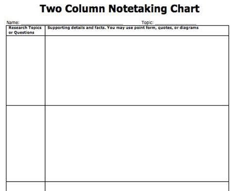 2 column word template note taking templates copy paste and type directy into