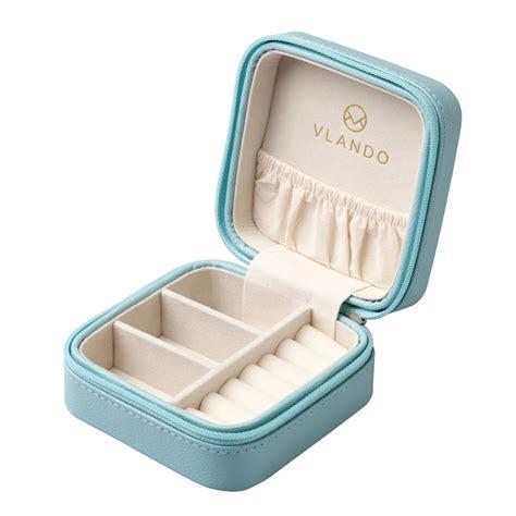 vlando small faux leather travel jewelry box organizer