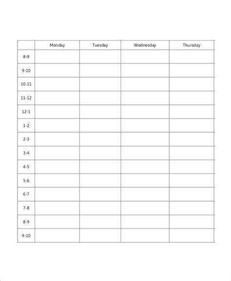 printable schedule for school blank school schedule template 6 free pdf format