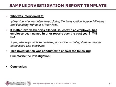 Misconduct Investigation Report Template