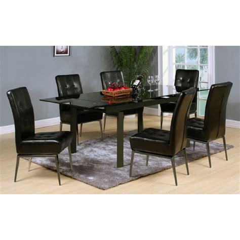 Black Glass Extending Dining Table Sherbourne Black Glass Top Extending Dining Table And 6