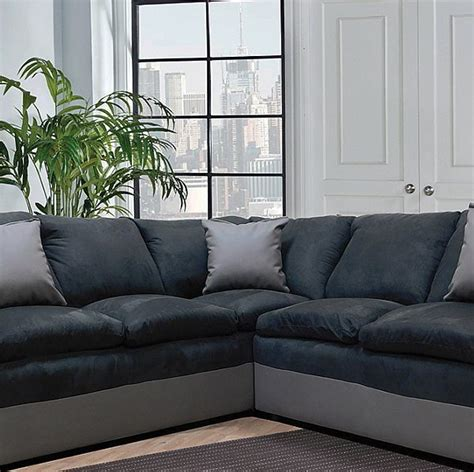 Gray And Black Microfiber Sectional by Style In Two Tone Grey And Black Microfiber