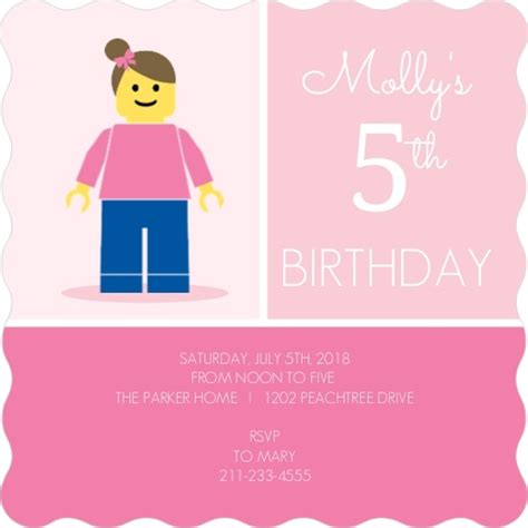 Thank You Card Mini Tema Lego minifigure lego themed birthday invitation